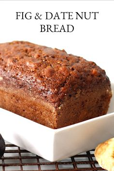 Fig amp Date Nut Bread: Brimming with fruit and nuts, Fig & Date Nut Bread packs a lot of nutrition and flavor into every bite. Great for breakfast or afternoon snack. sandwich Fig amp Date Nut Bread Nut Bread Recipe, Quick Bread Recipes, Baking Recipes, Sweet Recipes, Dessert Recipes, Breakfast Bread Recipes, Biscuit Recipe, Date Nut Loaf Recipe, Desert Recipes