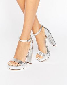 Buy River Island Platform Metallic Heeled Sandal at ASOS. With free delivery and return options (Ts&Cs apply), online shopping has never been so easy. Get the latest trends with ASOS now. Cheap Wedding Dress, Wedding Shoes, Wedding Dresses, Asos Mode, Bad Girl Outfits, Baskets, Bridesmaid Shoes, Aesthetic Shoes, Killer Heels