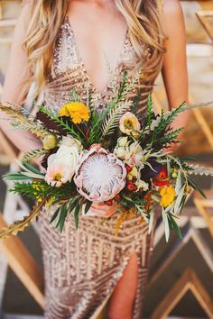 Metallic bachelorette party inspiration at the beach Modern Wedding Flowers, Wedding Flower Inspiration, Boho Wedding, Floral Wedding, Wedding Day, Floral Bouquets, Wedding Bouquets, Flor Protea, Wedding Trends