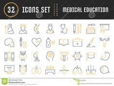 Set vector line icons, sign and symbols in flat design medical laboratory with elements for mobile concepts and web apps. Collection modern infographic logo and pictogram. Medical Laboratory, Medical Design, Symbol Design, Flyer Design Templates, Biochemistry, Pictogram, Line Icon, Icon Set, Biology