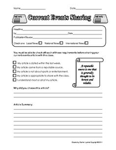 14 Ready to Use Current Events Activities. There are 12 Current Events worksheet and graphic organizers that can be used with any article. There is also a Current Events Sharing form for students to use with an article that will be shared with the class. Event Planning Quotes, Event Planning Business, Social Studies Activities, Teaching Resources, Current Events Worksheet, School Newspaper, Study History, Reading Skills, Graphic Organizers