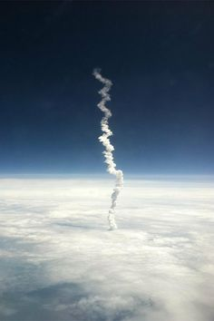 Last Space Shuttle Launch Captured from an Airplane Window Seat