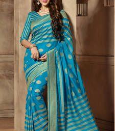 Buy Blue woven cotton_silk saree with blouse banarasi-silk-saree online