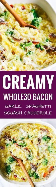 Easy whole30 creamy bacon garlic spaghetti squash bake. Paleo, healthy, and easy to make! Get ready to dig into some serious delicious and healthy eats!! How to cook spaghetti squash. Healthy spaghetti squash bake. Easy whole30 dinner recipes. Whole30 rec