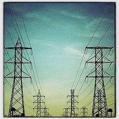 Transmission towers along the 101
