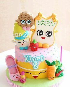 Pastel Shopkins, Shopkins Cake, Shopkins Bday, Pretty Cakes, Cute Cakes, Beautiful Cakes, Amazing Cakes, Girly Cakes, Fancy Cakes