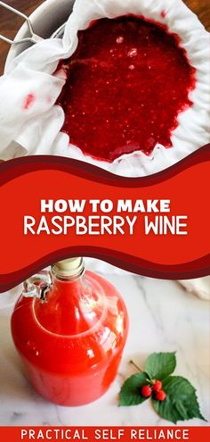 Ever wanted to learn how to make raspberry wine with those delicious ripe summer berries? If so, you'll love this homemade raspberry wine recipe! If you have black raspberries, make a black raspberry wine with this recipe. This DIY raspberry wine is so easy to make. It's the perfect wine making for beginners recipe to try at home. Wine Making at Home   Fresh Raspberry Drink Recipe   Homemade Fermented Drinks   Wine with Fruit   Summer Alcoholic Drinks Homemade Wine Recipes, Homemade Beer, Canning Recipes, Raspberry Wine Recipes, Raspberry Drink, Fruit Preserves, Fruit Jam, Making Wine From Grapes, Wine Making