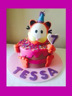 Garfield party cake girl's birthday seven