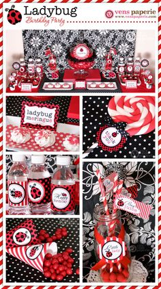 Red LadyBug Birthday Party Package Personalized by venspaperie, $29.00