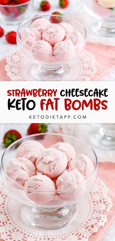 The original recipe for strawberry cheesecake fat bombs. These low-carb bite-sized treats taste like frozen strawberry cheesecake! #lowcarb #keto #fatbombs Healthy Low Carb Snacks, Protein Snacks, Keto Snacks, Keto Desserts, Keto Recipes, Snack Recipes, Dessert Recipes, Strawberry Cheesecake, Strawberry Recipes