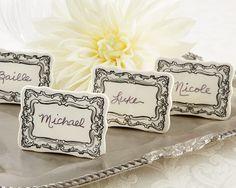 Vintage Filigree Ceramic Place Markers (Set of 6) (Kate Aspen 23086NA) | Buy at Wedding Favors Unlimited (http://www.weddingfavorsunlimited.com/vintage_filigree_ceramic_place_markers_set_of_6.html).