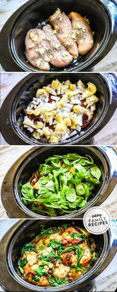 This Slow Cooker Tuscan Chicken is a grand slam on flavor. It is so delicious and so beautiful it is hard to believe it came out of a crock pot! Packed with chicken breast, sun dried tomatoes, spinach, and herbs, this Easy Family Meals, Easy Meals, Family Recipes, Easy Crock Pot Meals, Easy Veggie Meals, Gluten Free Recipes Crock Pot, Healthy Crock Pot Meals, One Pot Recipes, Easy Gluten Free Recipes