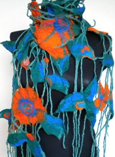 Felted wool scarf wrap  scarf by FeltNunoFelted on Etsy,
