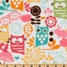 Michael Miller Forest Life Flannel Watermelon from @fabricdotcom  Designed for Michael Miller Fabrics, this single napped (brushed on one side) flannel features forest animals in colors of pink, yellow, orange and citron on a white background. Use for quilting and craft projects.