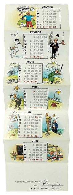 1983 new year's card featuring a 1983 calendar with Tintin, Haddock, Snowy and the Thom(p)sons.