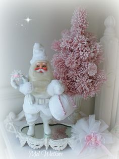 White Harold Gale vintage santa - this was red we re made him a new white suit <3