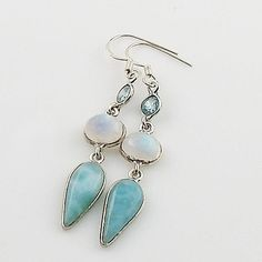 Larimar, Moonstone & Blue Topaz Sterling Silver Earrings