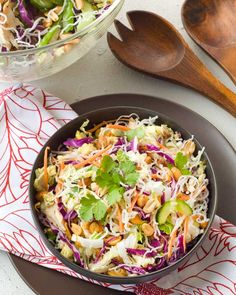 Just like Applebee's oriental chicken salad. Lot's of ingredients, but easily could cut a few out