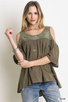 583864dae268af Sneak Peek Lace Cold Shoulder T Shirt Top Olive