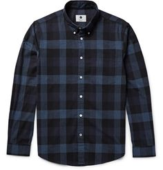 A cut above your typical checked shirt, <a href='http://www.mrporter.com/mens/Designers/NN07'>NN07</a>'s 'Falk' version is subtly refined. It's made from lightweight cotton-flannel that's been brushed for a soft, tactile feel and has sleek mother-of-pearl buttons. The smart fit and neat collar ensure it will team equally well with trousers and a blazer as it will with jeans.