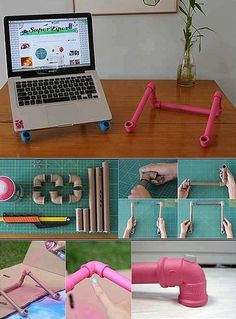 Plastic pipes are excellent materials for DIY design projects Pvc Pipe Crafts, Pvc Pipe Projects, Diy Craft Projects, Diy And Crafts, Design Projects, Diy Laptop Stand, Design Diy, Diys, Diy Table Saw