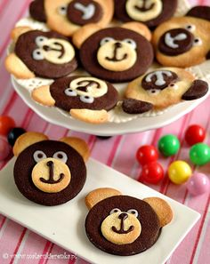 Teddy bear Cookies using chocolate and vanilla sugar cookie recipes.