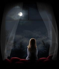 girl sharing her secrets with the moon.