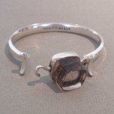 Georg Jensen Sterling Silver Cuff with Rutilated Quartz No. 207 by Vivianna Torun