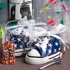 Oh So Cute Blue Star Print Baby Sneaker Key Chain - 6135