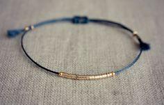 Items similar to New Version Lucia Bracelet / Friendship Bracelet / Navy Thread Bracelet with Gold on Etsy Handmade Jewelry Tutorials, Handmade Bracelets, Bracelet Making, Jewelry Making, String Art, Diamond Wedding Bands, Friendship Bracelets, Jewelery, Beading