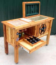 Deck Cooler, Outdoor Cooler, Woodworking Plans, Woodworking Projects, Ice Chest Cooler, Cocktails, Drinks, Esty, Wood Pallets