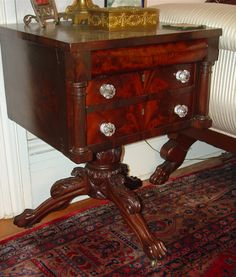 Empire nightstand mahogany acanthus carved base, ca 1840
