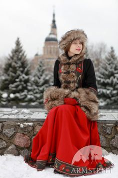 """Wool coat with fur hat and muff """"Russion Season"""""""