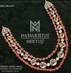 Latest Bridal Jewelry by Mangatrai Neeraj Jewelry Logo, Coral Jewelry, India Jewelry, Trendy Jewelry, Jewelry Trends, Wedding Jewelry, Beaded Jewelry, Silver Jewelry, Beaded Necklace