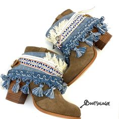 Gypsy Boots, Boho Boots, Denim Boots, Cowgirl Boots, Western Boots, Bohemian Shoes, Gypsy Cowgirl, Botas Boho, Boot Jewelry