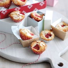Gluten-Free Mini Strawberry Frangipanes - Christmas Recipes. USE LOW CARB CAKE RECIPE. Serve with sweetened & whipped cream for a Strawberry shortcake flavour.