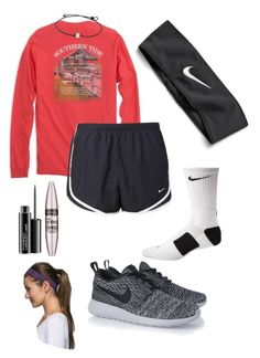 """""""Basketball Game today!!"""" by lydia-hh ❤ liked on Polyvore featuring NIKE, MAC Cosmetics, Maybelline, lululemon, women's clothing, women's fashion, women, female, woman and misses"""