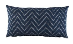 INDIGO HERRINGBONE IKAT BOLSTER- Hand woven ikats from Thailand always have a subtle grace. These pillows are made by farmers from Isaan in the off seasons when they are not harvesting. Looking at them, I remember the soft click-clak of the looms under their raised houses as you approach their village.