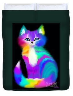 Colorful Striped Rainbow Cat Duvet Cover by Nick Gustafson