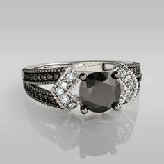 Round Cut Vintage Sterling Silver 1ct Black and White Diamond Ring