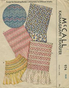 """Vintage Sewing Pattern for Smocking   McCall 974   Year 193?   Kaumagraph Transfer for 7½"""" wide smocking adaptable from 2½"""" to 15"""" wide"""