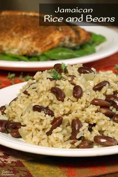 Jamaican Rice and Peas (or Caribbean Red Beans and Coconut Rice) is an easy and flavorful side dish that brings a fun tropical flair to your meal.   www.CuriousCuisiniere.com