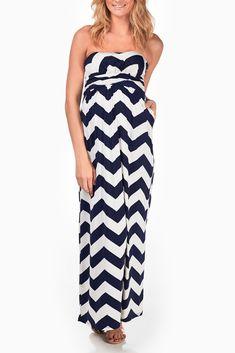 Navy-Blue-White-Chevron-Maternity-Maxi-Dress #maternity #fashion
