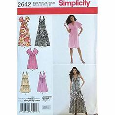 Misses Dresses Variations Simplicity 2642 Pattern 2009 Size 14 16 18 20 22 c1561 #Simplicity