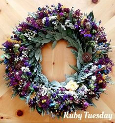 wreath, spring wreath, dried flower wreath,lavender fragrant wreath , colorful wreath, living room Dried Flower Wreaths, Lavender Wreath, Dried Flowers, Real Flowers, Amazing Flowers, Pretty Flowers, Swag Ideas, Ruby Tuesdays, Wreaths For Front Door