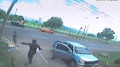 Chilling CCTV! 'Ghost' arrises from body after fatal accident
