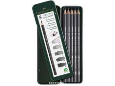 Купить Чернографитовые акварельные карандаши, HB, 2B, 4B, 6B, 8B, в металлической коробке, 5 шт. в интернет-магазине OZON.ru