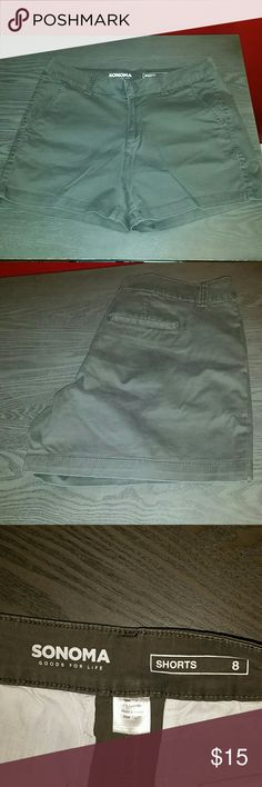 """Must go! SONOMA 13"""" Cotton/Spandex Shorts These comfy shorts by Sonoma via Kohl's, were worn once in the early summer and no longer fit. They have been washed in preparation for sale. The shorts are an olive gray color and measure 13"""" from the waist. Sonoma Shorts"""