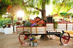 Decoração, carrinho de frutas