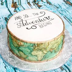 All my bags are packed I'm ready to go. A friend's oldest daughter boarded a plane last week set for Oregon. She's studying there for… Travel Cake, Travel Party, Map Cake, Cake Art, Brithday Cake, Cake Birthday, Farewell Cake, Travel Bridal Showers, Goodbye Party